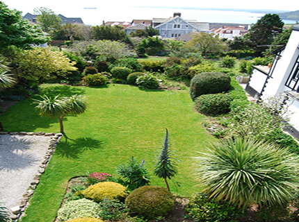 a view over Tudor Court Garden